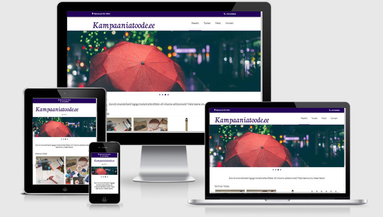 Kampaaniatoode veebilehe disain